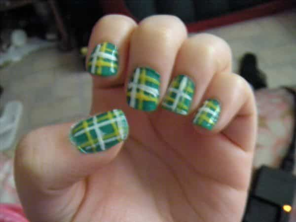 Green, White, and Yellow Plaid Nails