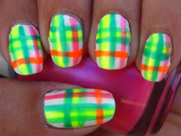 White Nails with Green, Yellow, Pink, and Orange Plaid Designs