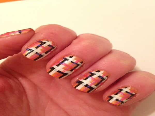 Gold Nails with Black, White, and Pink Plaid Designs