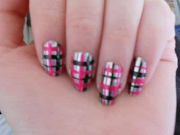 Silver Nails with Black and Pink Plaid Designs