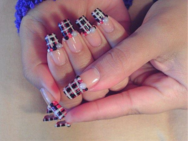 Black Nails with Pink Dots, and White Striped Plaid Nails with White, Black and Red Pearls