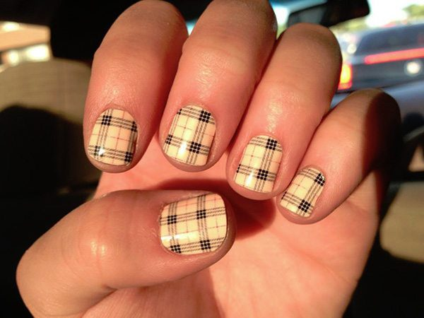 Tan and Black Plaid Nails - 12 Totally Cool Plaid Nail Designs