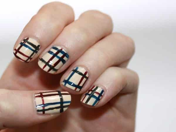 Tan Nails with Green, Blue and Red Plaid Design