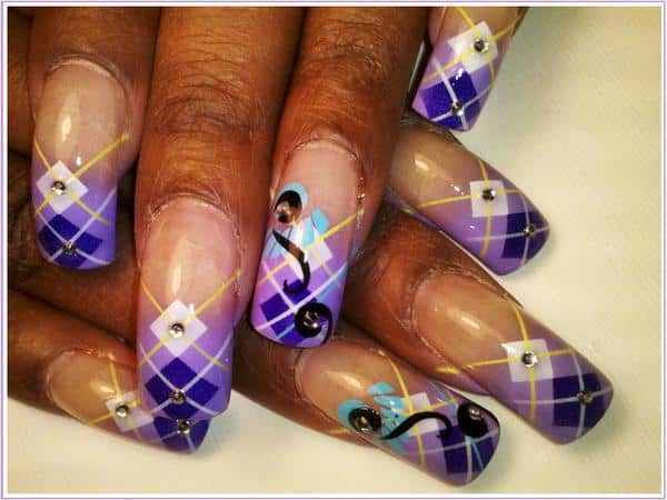 Purple and Lavender Plaid Nailswith Rhinestones
