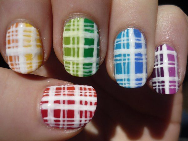 Red, Orange, Yellow, Green, Blue, and Purple Plaid Designs