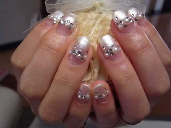 Plain Nails with Pearl Tips, Pearls, and Rhinestones