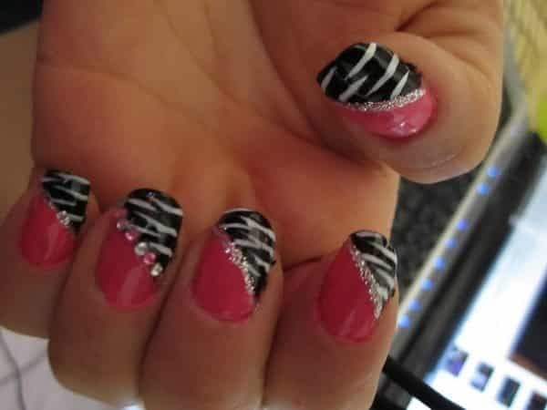 Pink Nails with Black and White Leopard Design and Pink and White Rhinestones