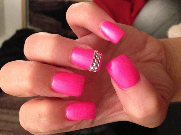 Pink Nails with Single Rhinestone Tipped Nail