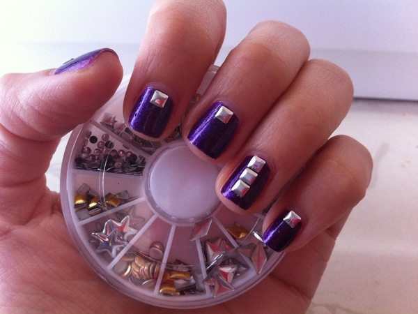 Purple Nails with Square Silver Rhinestones