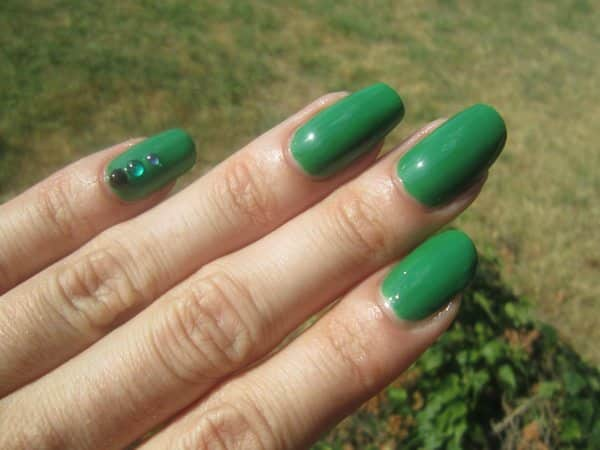 Green Nails with Green Rhinestones