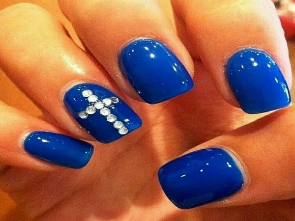 Blue Nails with Rhinestone Cross