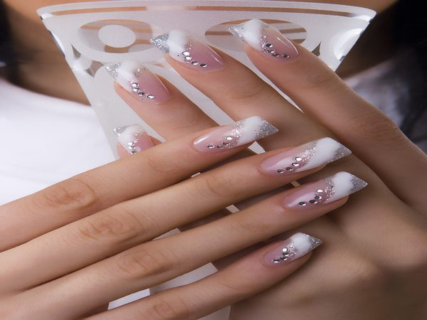 French Manicure Nails with Silver and Rhinestones