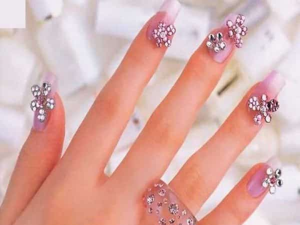 Pink Nails with Pink Rhinestone Flowers