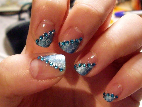 Plain Nails with Blue and Blue Rhinestones