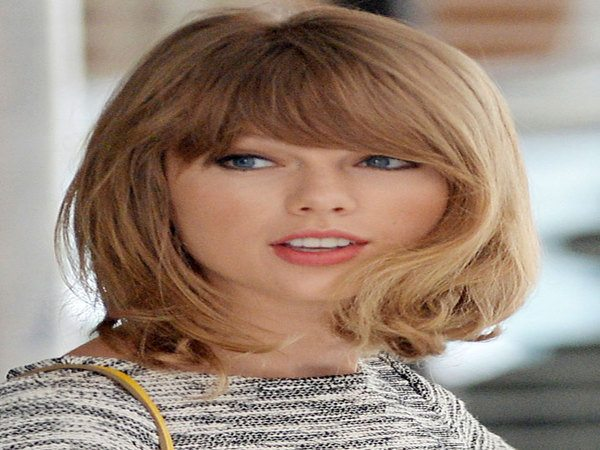 Taylor Swift Shoulder Length Dark Blond Hair with Bangs