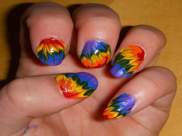 Red, Yellow, Blue, Green, and Purple Tie Dye Nails - 10 Amazing Tie Dye Nail Designs