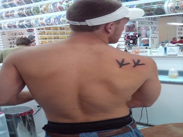 Turkey Track Shoulder Tattoo