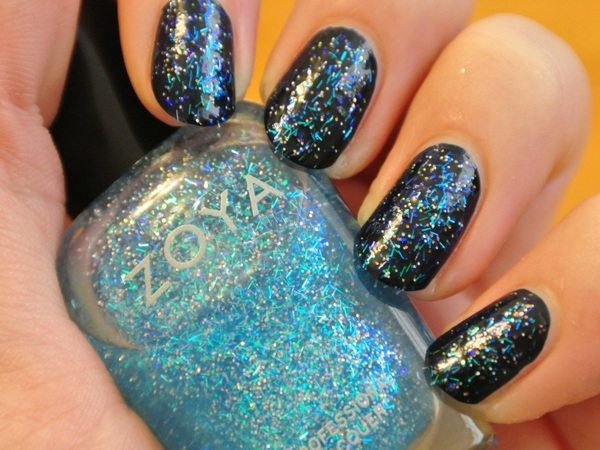 Black Nails with Blue Glitter