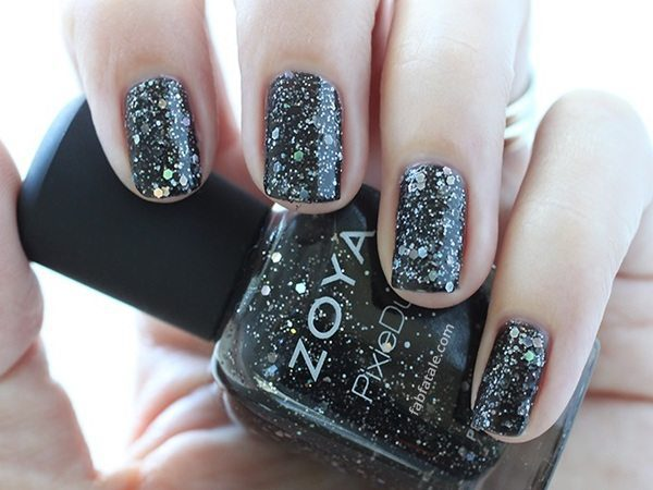Black with Silver Glitter Nails
