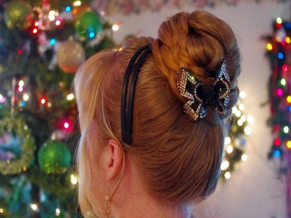 Christmas Bun with Braid and Butterfly Clip