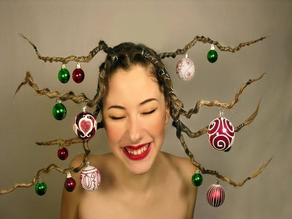 Christmas Braids with Ornaments