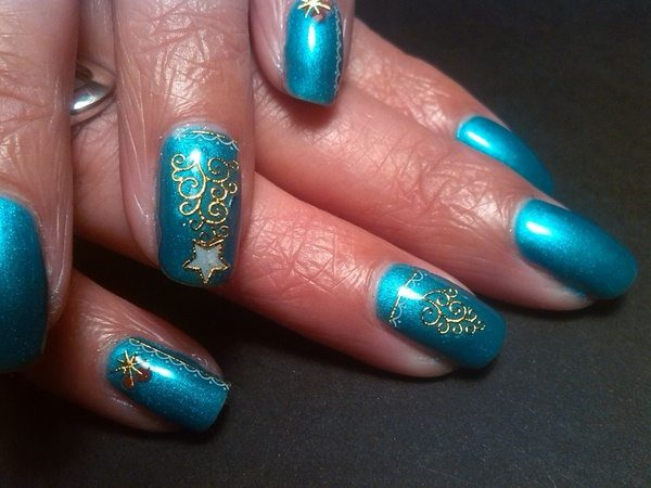 Blue Nails with Gold Christmas Trees