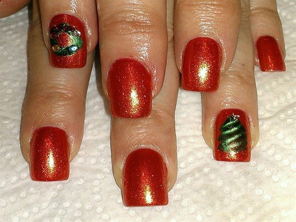 Red Glitter Christmas Nails with Wreathes and Trees