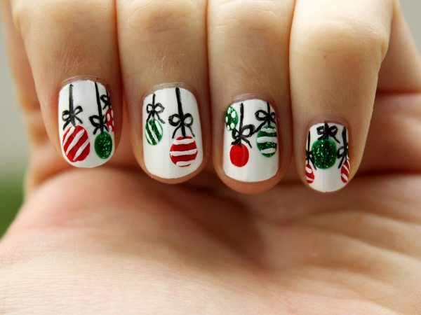 White Nails with Dangling Ornaments