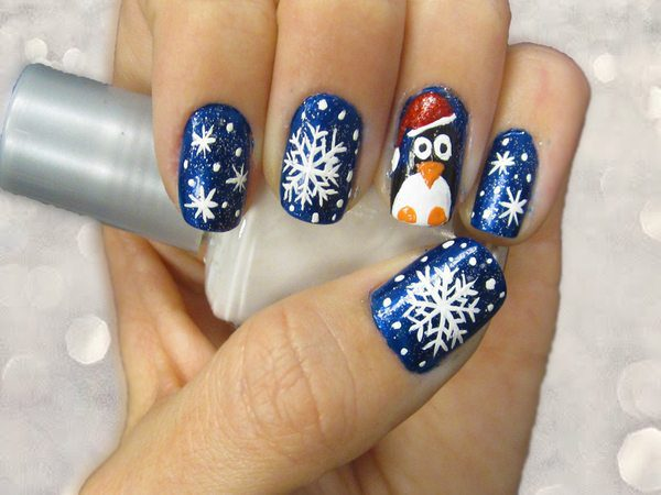 Blue Glitter Nails with Snow and Penguin Design