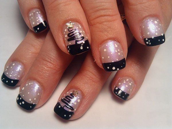 Pearl Nails with Black Tips, White Dots, and Christmas Trees