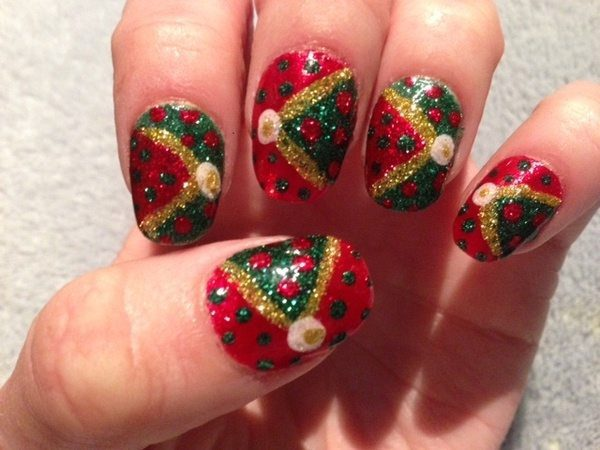Red Glitter Nails with Christmas Trees and Green Dots