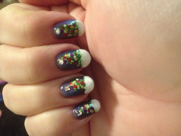 Purple Nails with Christmas Trees and White Snowy Tips