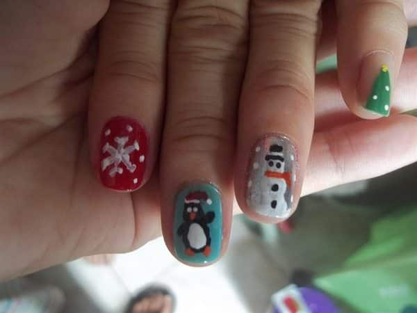 Red, Blue, Silver, and Plain Nails with a Snowflake, Penguin, Snowman, and Christmas Tree