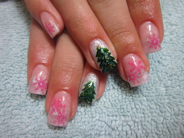 Plain Nails with Pink Snowflakes and Christmas Trees on Silver
