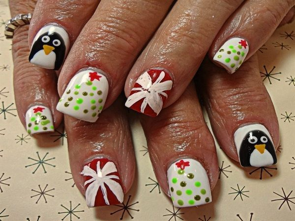 White Nails with Presents, Penguins, and Christmas Trees