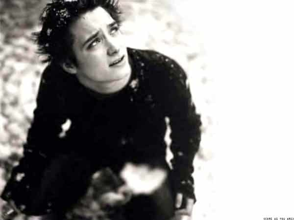 Black and White Elijah Wood Picture with Spiky Hair