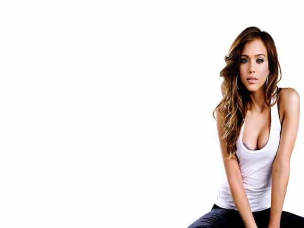 Jessica Alba Long Curly Dark Hair with Blond Streaks
