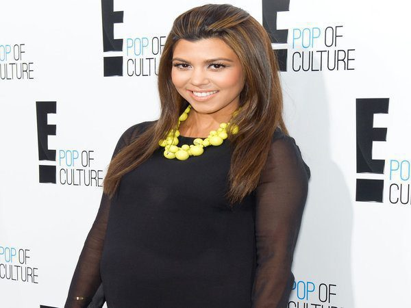 Kourtney Kardashian Long Straight Hair with Red Light Brown Streaks