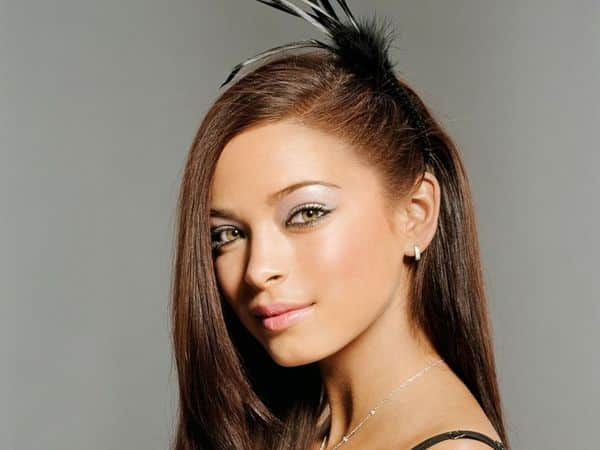 Kristin Kreuk with Straight Hair and One Side Pulled Back