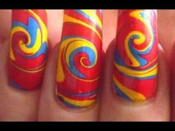 Red, Blue, and Yellow Marble Swirl Nails