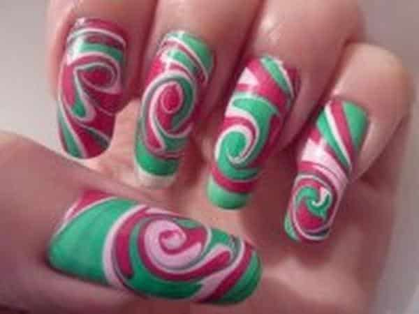 Green, Pink, and White Marble Nails