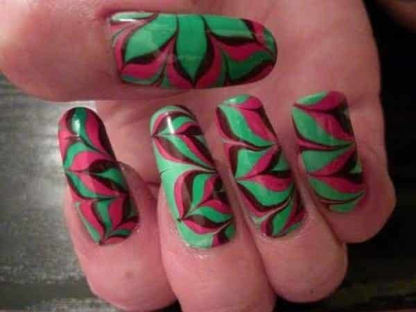 Green, Maroon, and Pink Marble Nails