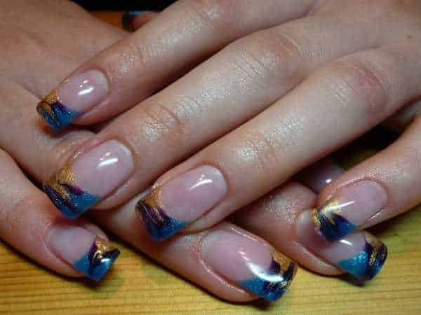 Plain Nails with Blue, Yellow, and Purple Marble Nails