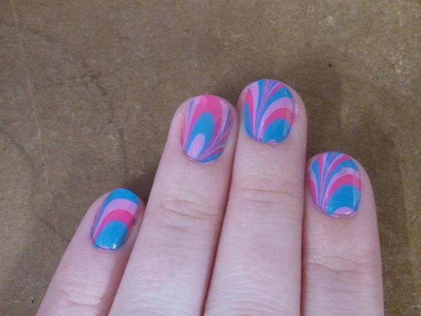 Pink, Purple, and Blue Marble Nails