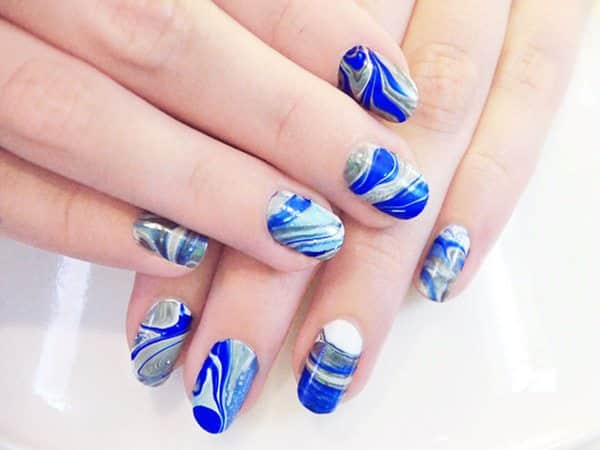 Blue, Grey, and White Marble Nails