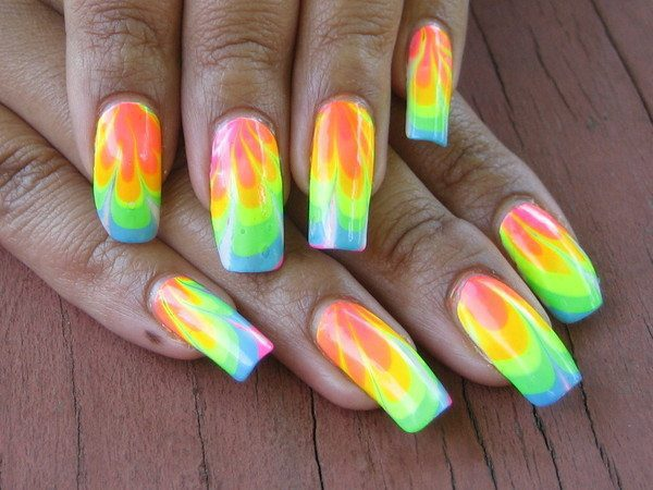 Neon Marble Nails