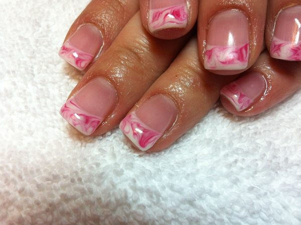 Plain Nails with Pink and White Marble Nails