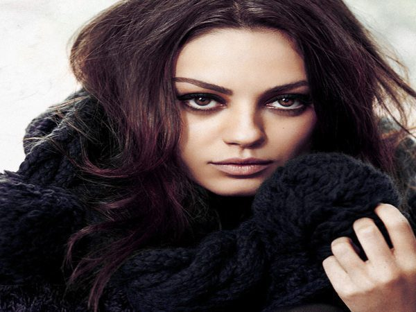 Mila Kunis Middle Parted Curly Hair