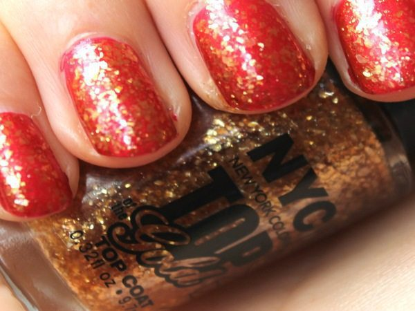 Red Nails with Gold Glitter Coating