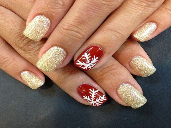 Gold Glitter Nails with Single Red Nail with Snowflakes